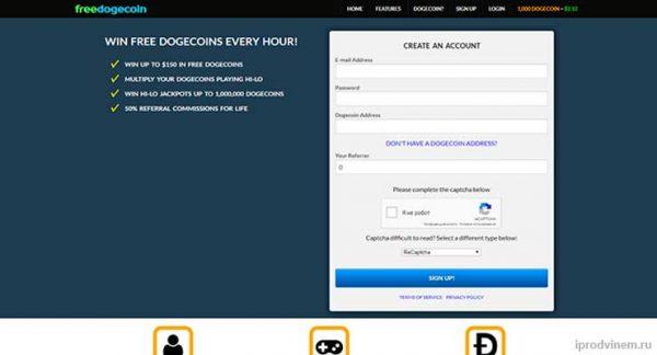 FreeDogecoin бесплатный doge коин кран