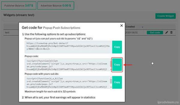 Evadav добавляем код на вордпресс копируем код