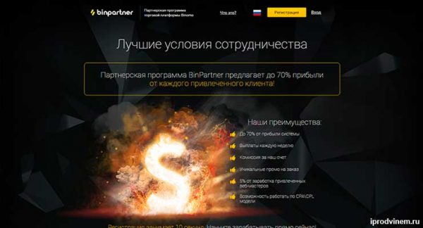 BinPartner – партнерская программа бинарных опционов от компании Binomo
