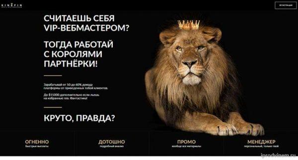 Kingfin – партнерская программа бинарных опционов от компании Олимп Трейд