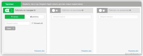 Как пользоваться Zengram подраздел Таргетинг