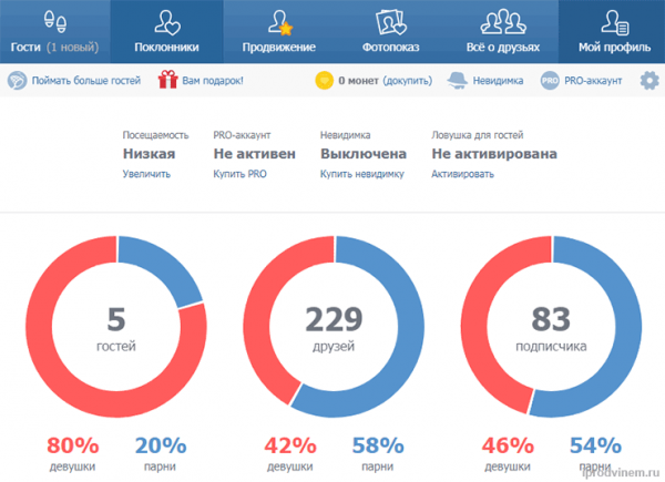 Приложение для Вконтакте Мои гости - раздел Мой профиль