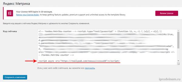 PushAds вставляем код на сайт через Яндекс Метрику