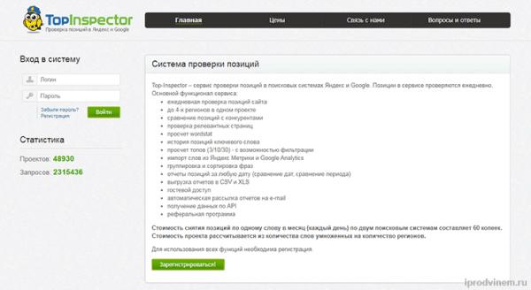 Top Inspector - проверка позиций сайта в поисковике Яндекс и Google