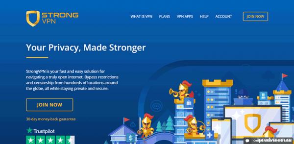 StrongVPN - сервис по предоставлению услуг VPN