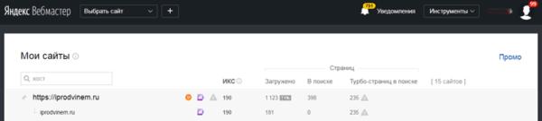 Как выглядит Яндекс Вебмастер