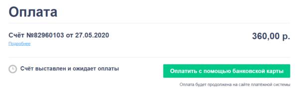 Выставлен счет на оплату домена и хостинга на Reg ru через банковскую карту
