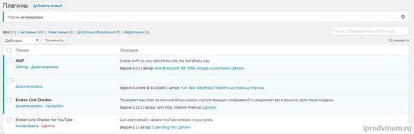 Плагин успешно установлен на WordPress