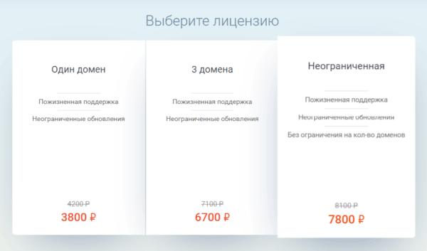 Тема Root для WordPress раздел выбора лицензии