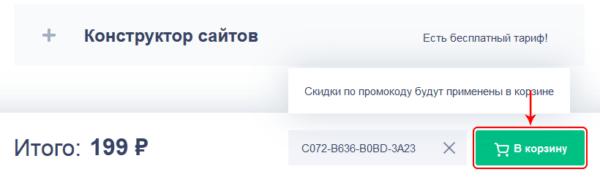 Добавление промокода и переход к покупке домена на Reg ru