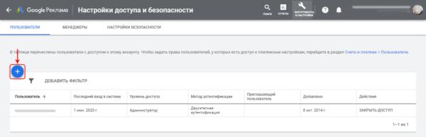 Google Ads настройка доступа добавление нового пользователя