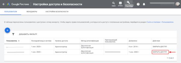 Google Ads удаление доступа пользователя