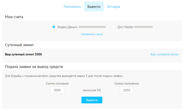 Заказ вывода средств на Воркзилле