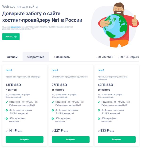 Тарифы хостинга на Reg ru