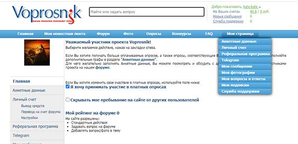 Интерфейс Вопросника, раздел Моя страница