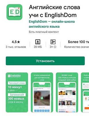 Приложение по изучению английского на телефоне EnglishDom