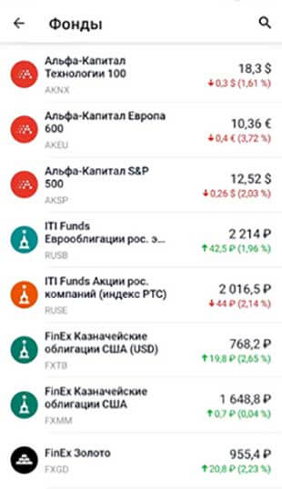 Пример фондов в приложение Тинькофф Инвестиции