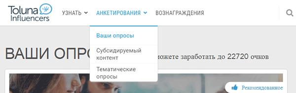 Интерфейс Toluna - раздел «Анкетирование»