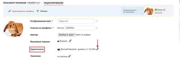 Тест на грамотность на бирже Text.ru
