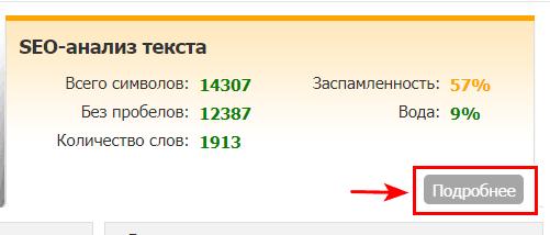 SEO анализ на бирже Text.ru